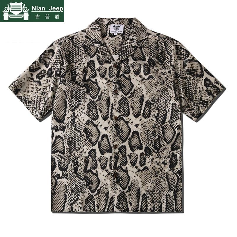 Python patrón Camisa estampada hombres Hip Hop Harajuku Streetwear camisas de manga corta de las mujeres de los hombres de verano hawaiana en la playa Chemise Homme