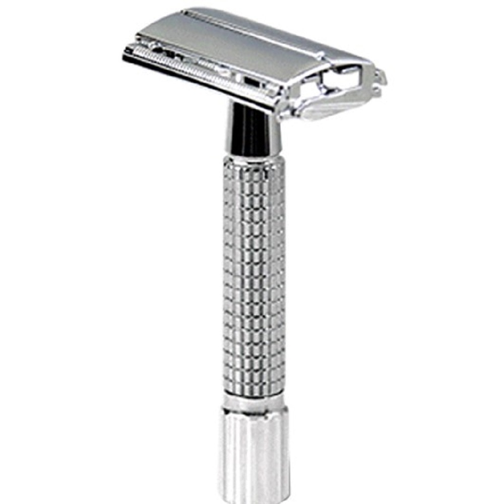 De acero inoxidable clásico de manejar para los hombres peluquero maquinilla de afeitar recta titular hombres afeitado cara afeitar máquina de afeitar con hojas
