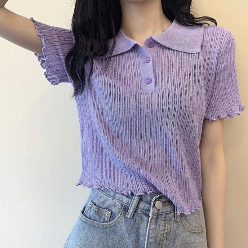 Camiseta de moda para mujer, dulce camiseta ahuecada de amor, Tops femeninos, camiseta de manga corta con cuello en V, Camiseta de algodón 2020 Naisten t-paita