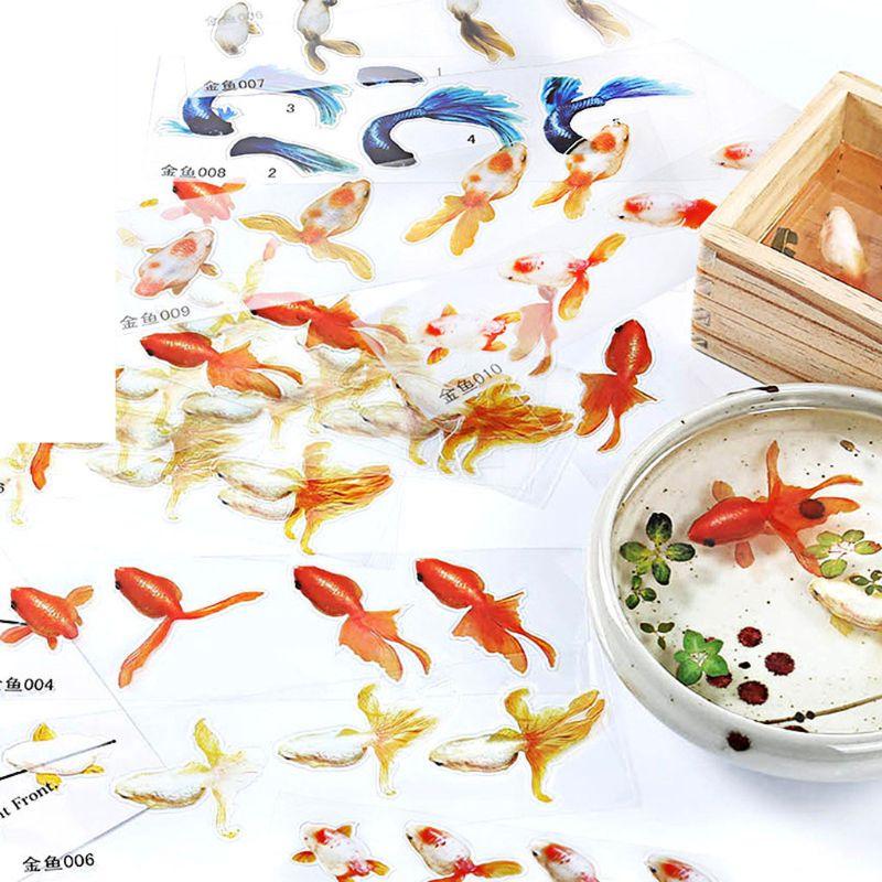 10 hojas de pegatinas de resina UV de pez dorado azul compatibles con molde de silicona DIY Micro paisaje