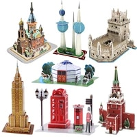 childrens educational creative diy assembled splicing toys world name architecture model 3d paper puzzle