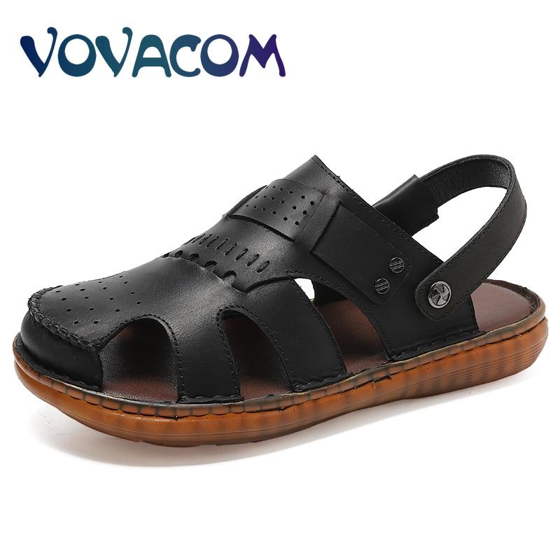 summer men sandals breathable beach shoes hook Summer Breathable Men's Sandals Genuine Leather Men Sandals Fashion Men's Shoes Summer Outdoor Walking Sandals Men Beach Sandals