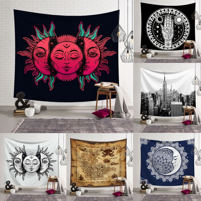 Boho Mandala Muster Wandteppich Hängen Decke Bettdecke Psychedelic Mond Sonne Yoga Strand Matte Textil Vintage Kunst Wohnkultur