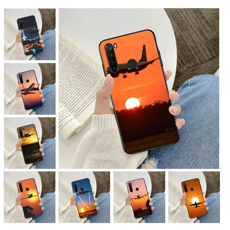 Avion au lever du soleil avion avion bricolage impression dessin housse de téléphone coque pour redmi note 4 5 6 7 5a 8 8pro Case