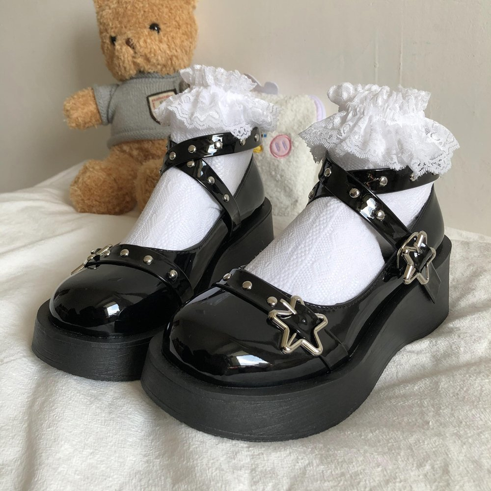 aliexpress.com - Japanese Lolita Shoes Star Buckle Strap Mary Janes Women Cross-tied Platform Shoe Patent Leather Girls Rivet Casual Shoes
