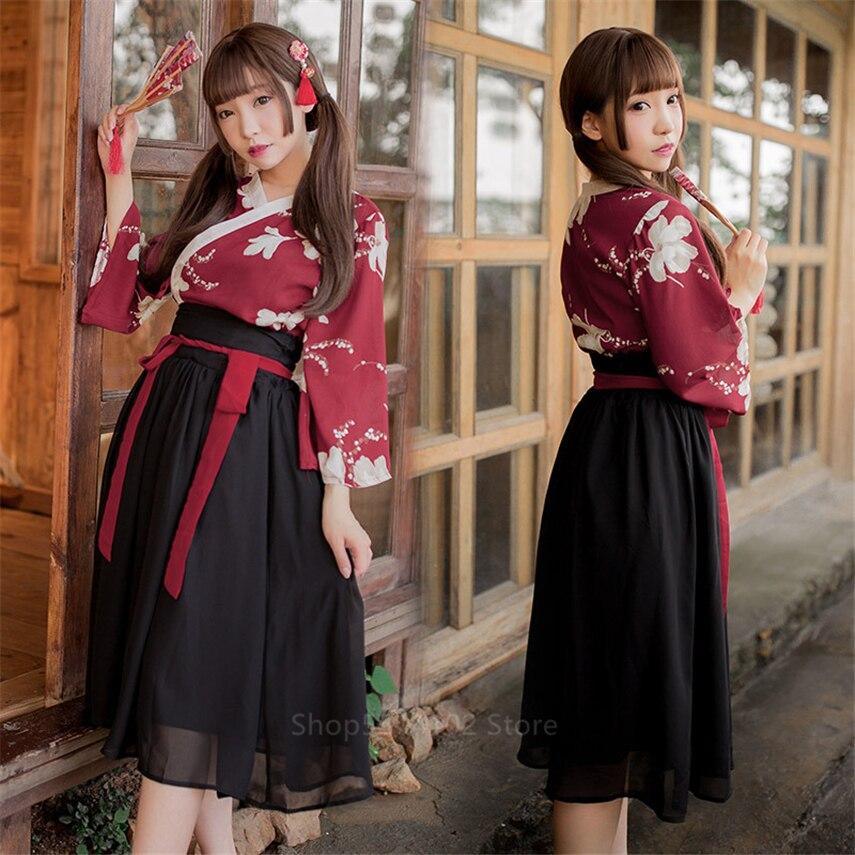 2020 Women Kimono Dress Japanese Style Floral Print Yukata Sakura Girl Haori Robe Long Sleeve Sexy Vintage Japan Korean Clothing