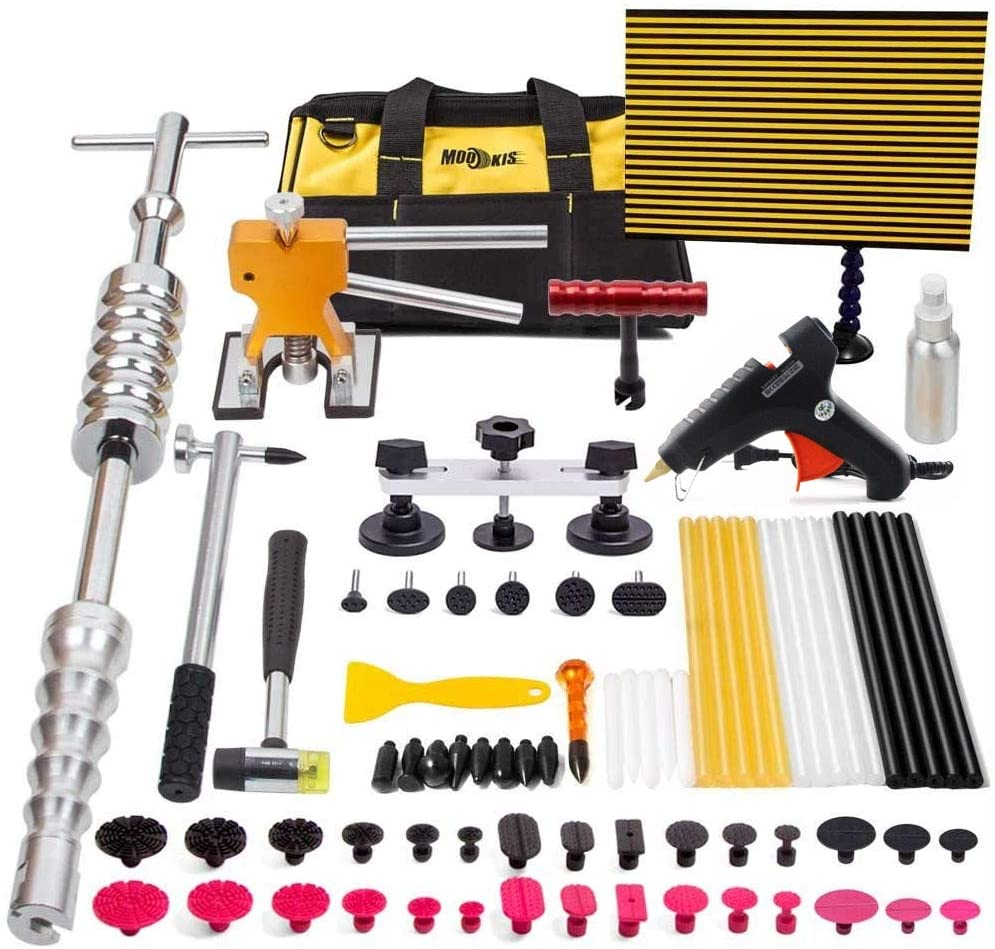 Paintless Dent Repair Tool 77PCS Car Dent Temoval Tools with Sliding Hammer Lifter, Bridge Puller, LED Wire Board Kit