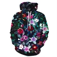 hoodie 2021 spring fashion top mens and womens long sleeved 3d printing rose harajuku sports pullover casual hip hop clothing