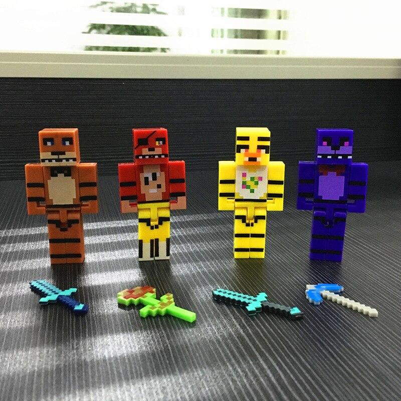 4 pçs/set cinco noites figura de ação, brinquedos, blocos de construção, montagem, freddi, nights, bonnie, anime, figura, brinquedos