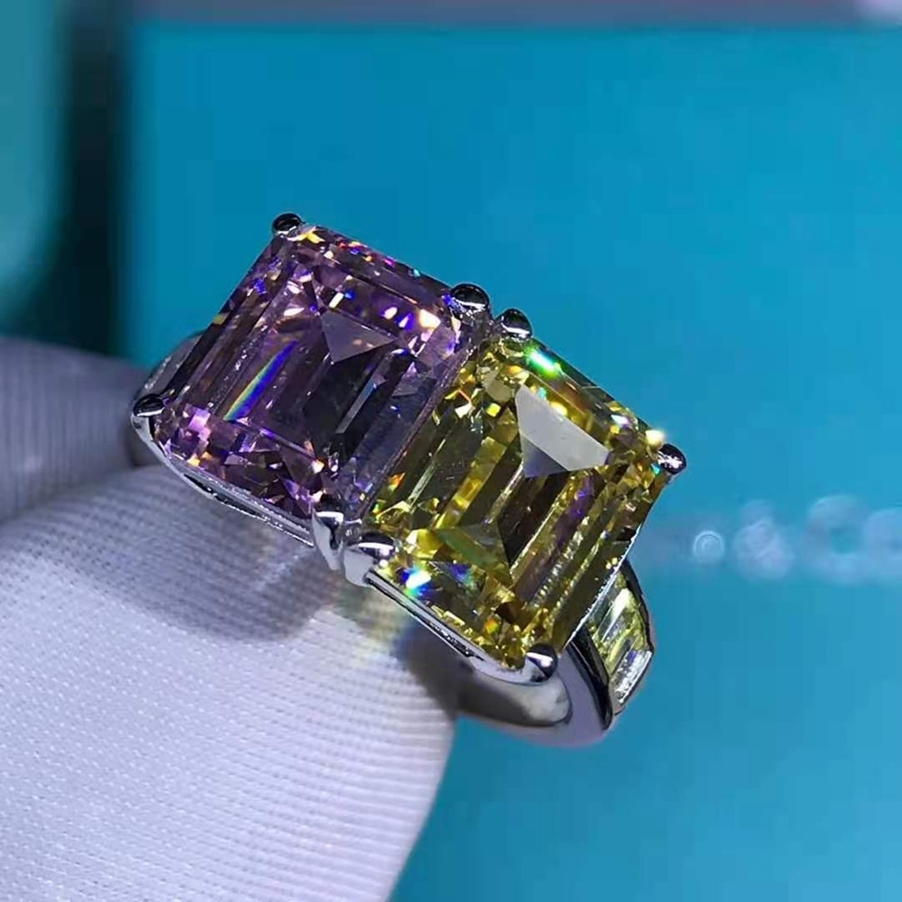 Wong Rain 925 Sterling Silver Emerald Cut 6 CT D Created Moissanite Engagement Fashion Ring Customized Ring Fine Jewelry Gift