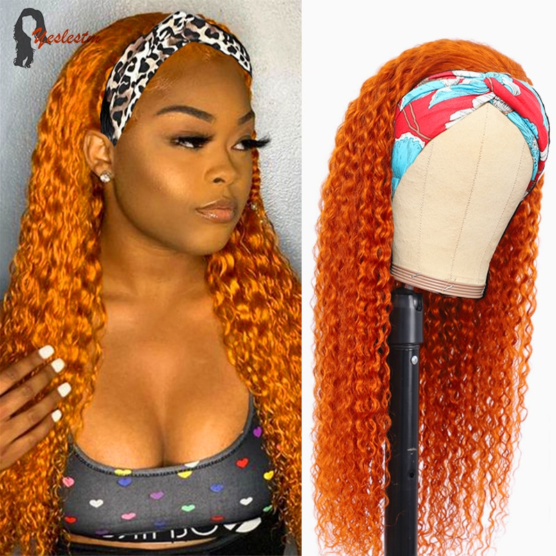 Yeslestm Orange Ginger Headband Human Hair Wigs For Women Brazilian Water Wave Ginger Orange Colored Remy Scarf Wig Pre Plucked