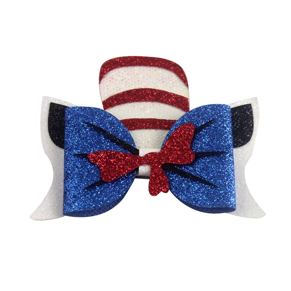 4 дюйма Dr Seuss шляпа банты для волос с заколками кожаные заколки для волос заколки для девочек Танцевальная вечеринка заколки аксессуары для волос подарки
