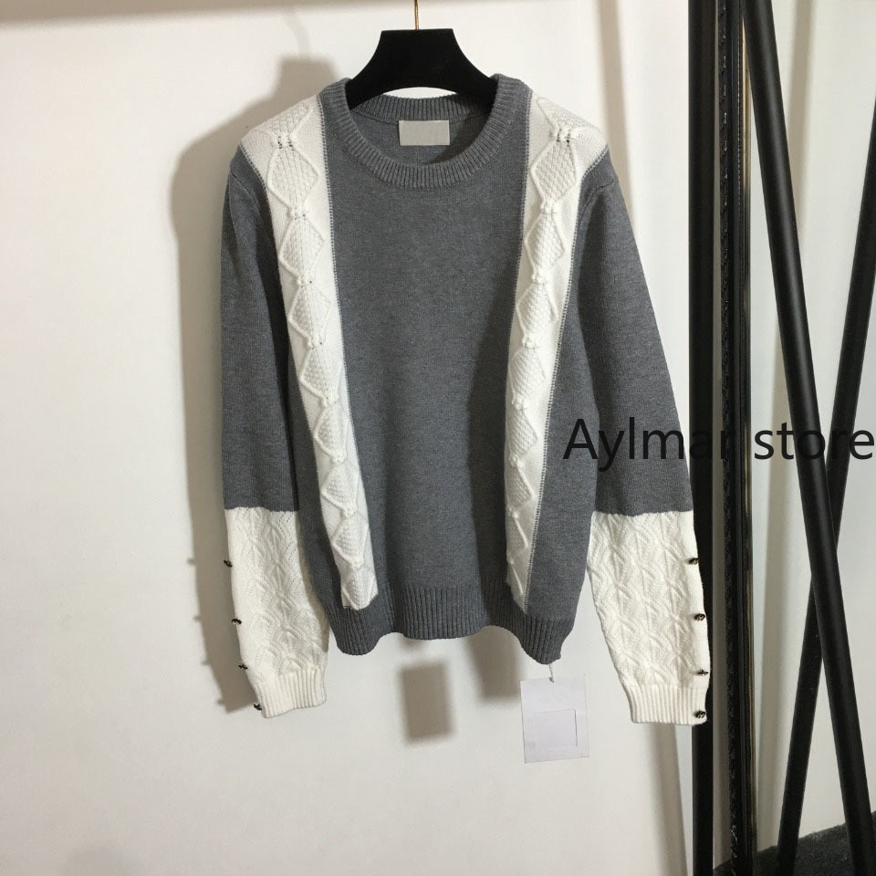 High quality 2021 autumn winter new women's color matching Pullover Top Long Sleeve knitted sweater short sweater enlarge