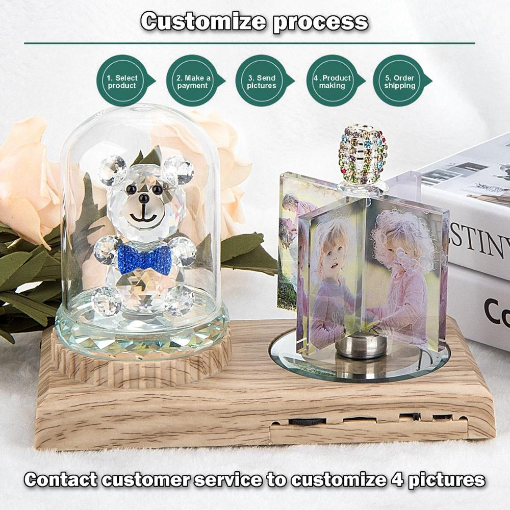 Personalized Crystal Picture Frame with Colorful MP3 Music LED Bluetooth Base Windmill Shape Anniversary  Mothers Day WomenGifts enlarge