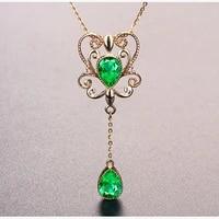 emerald gemstones pendant necklace women green crystal vintage drop 18k gold color choker unique jewelry christmas gift femme