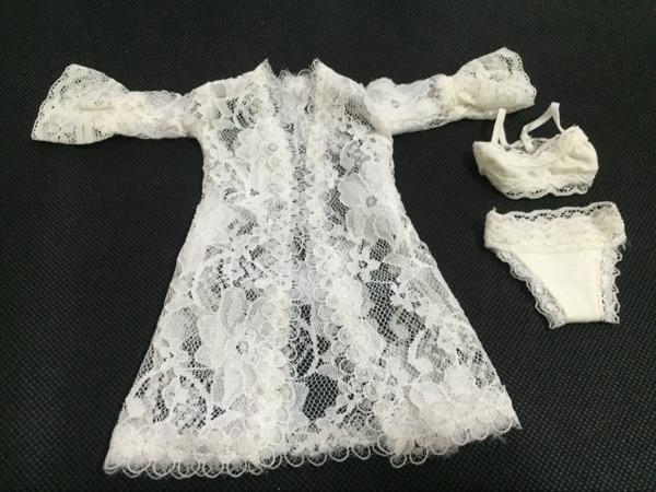 Mnotht 1/6 escala blanco Sexy encaje pijama abrigo con ropa interior para la colección de figuras de acción 12in Phicen Tbleague juguete