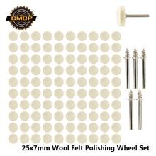 52pcs/105pcs 25x7mm Wool Felt Polishing Wheel Set For Dremel Rotary Tools Buffing Wheel With 3.175mm Shank Mandrel Polishing Pad