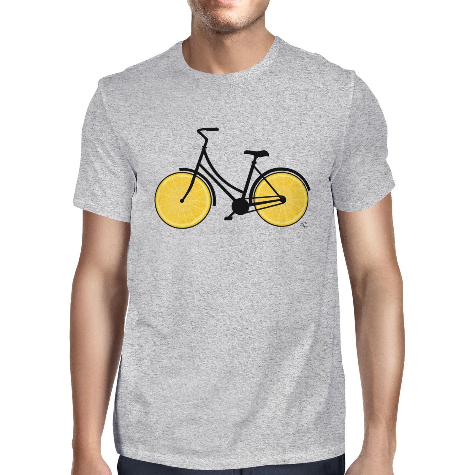 1Tee Mens Zesty Lemon ruedas bicicleta camiseta