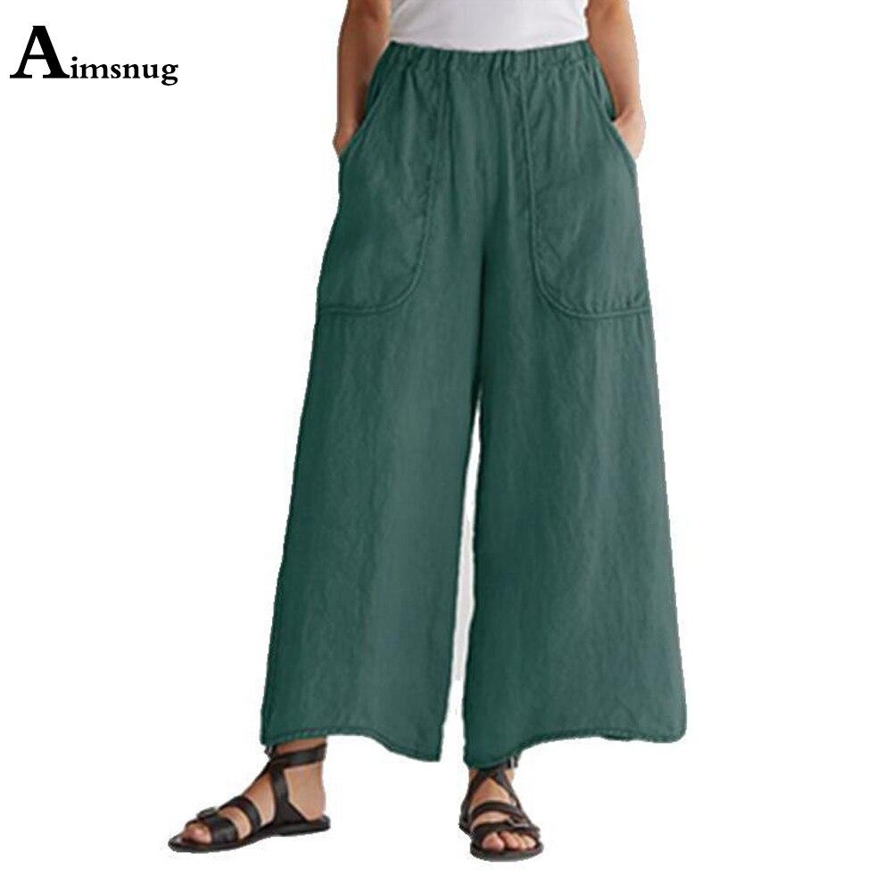 2021 размера плюс 4xl 5xl женские льняные штаны, Повседневная летняя одежда, штаны с эластичной резинкой на талии свободные Панталоны с широкими ...