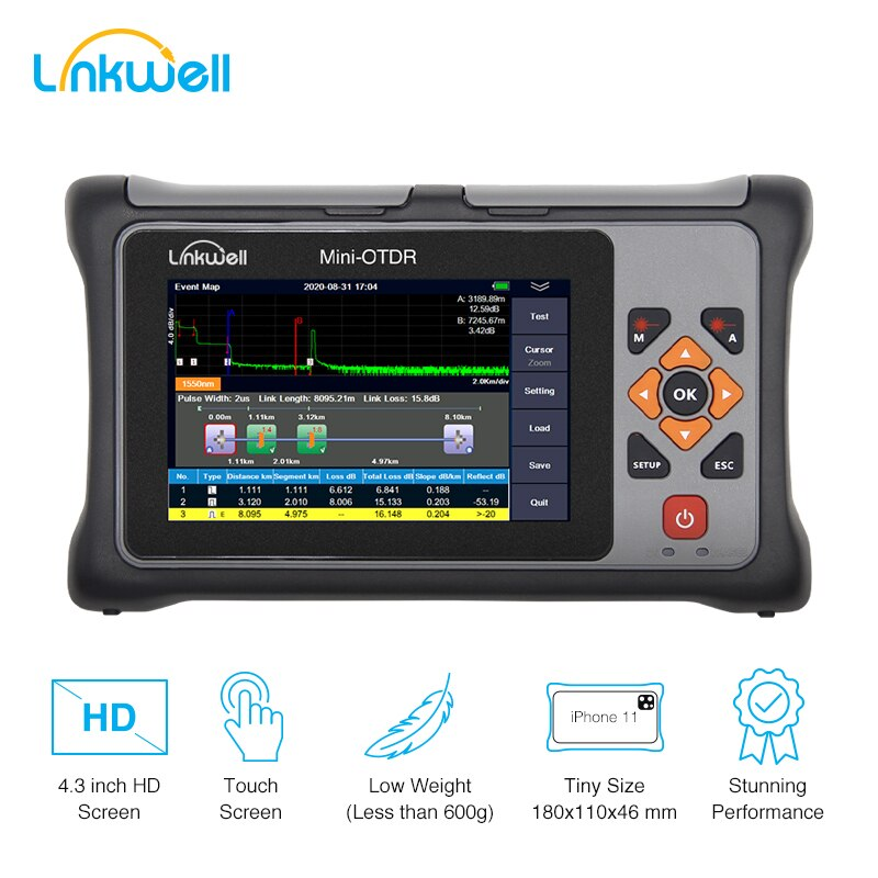 Pro MINI OTDR 1310/1550nm 26/24dB  Fiber Optic Reflectometer Touch Screen VFL OLS OPM Event Map Ethernet  Cable Tester Equipment