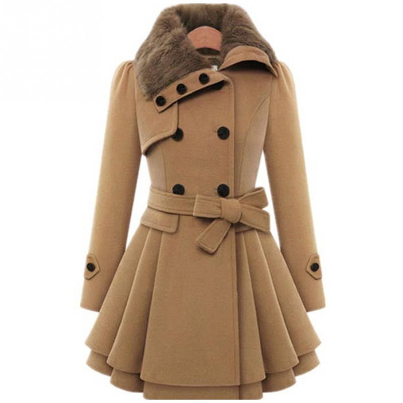 Moda mujer gabardina delgada señora Cuello de piel Peacoat invierno abrigo de lana chaquetas Outwear doble Breasted abrigos elegantes