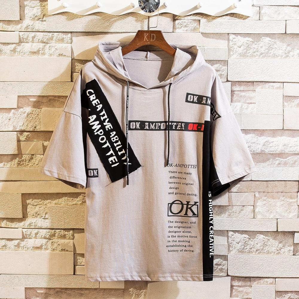 2020 de los hombres de verano con capucha de algodón camiseta Casual la mitad de manga corta con capucha ropa suelta Tops de moda camisetas Harajuku T camisa hombre