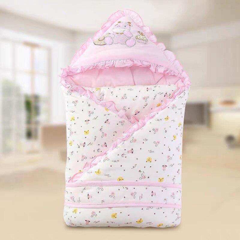Cute Baby Anti-Kick Sleeping Bag Cotton Envelope Blankets Cartoon Newborn Swaddle  Wrap