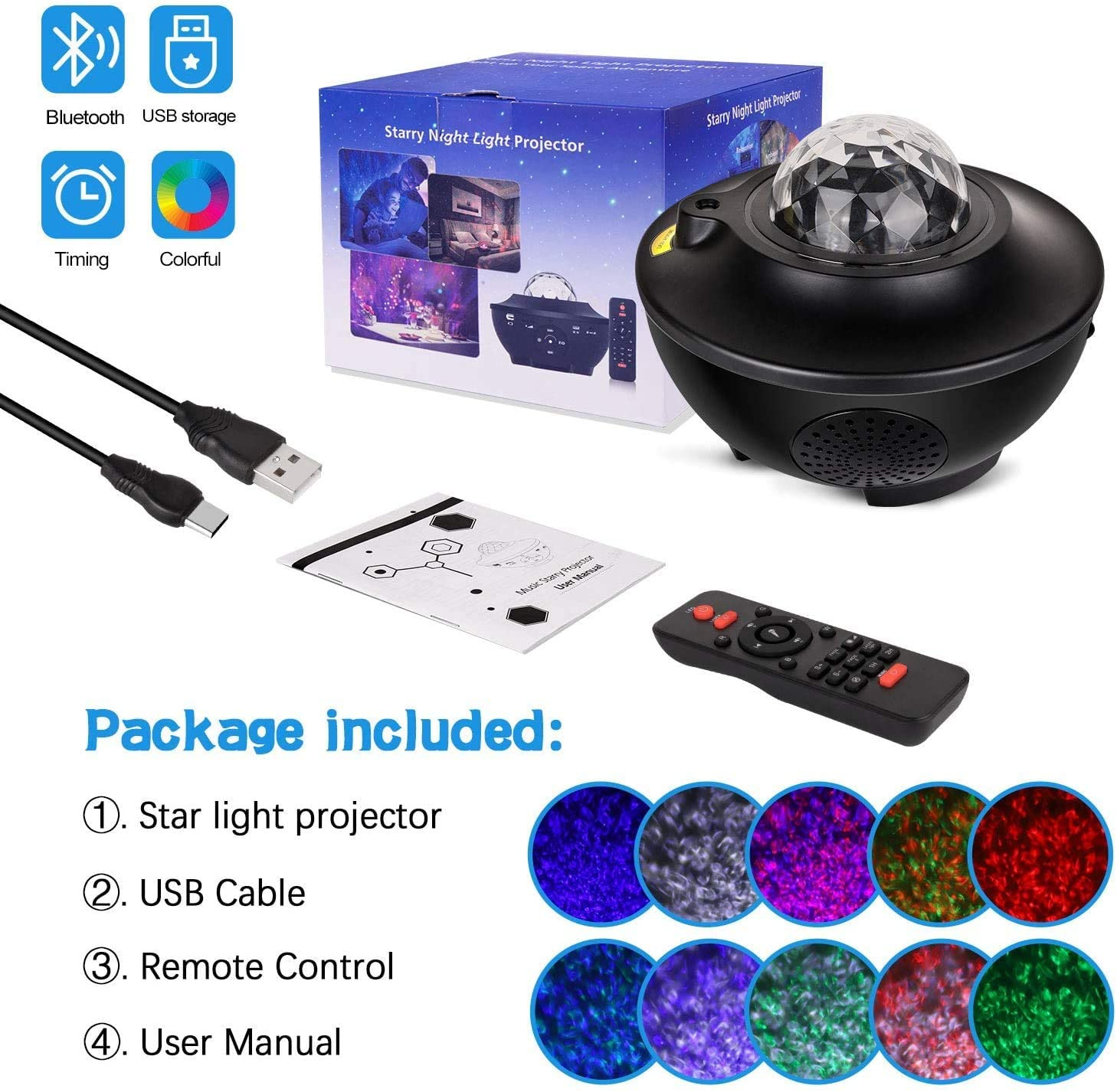 Colorful Starry Sky Projector Blueteeth USB Voice Control Music Player LED Night Light Romantic Projection Lamp Birthday Gift enlarge