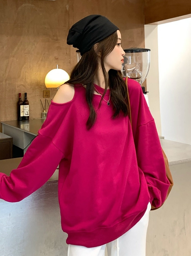 Women's Sweatshirts  Autumn 2021 New Careful Off Shoulder Loose Design Sense Long Sleeve Temperament