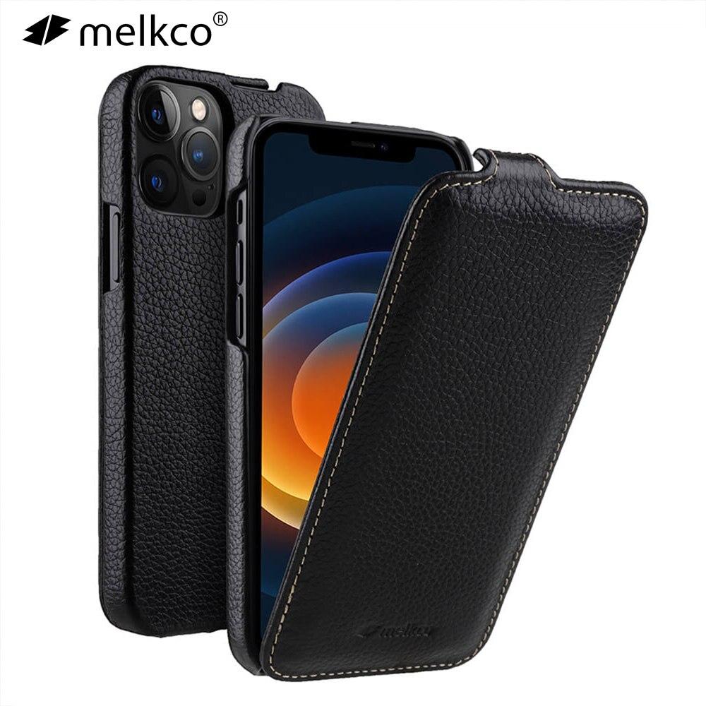 Melkco-جراب هاتف جلدي أصلي مع رفرف ، جراب فاخر لرجال الأعمال ، لـ iPhone 12 Pro Max mini 11 X Xr Xs Max 7 8 SE