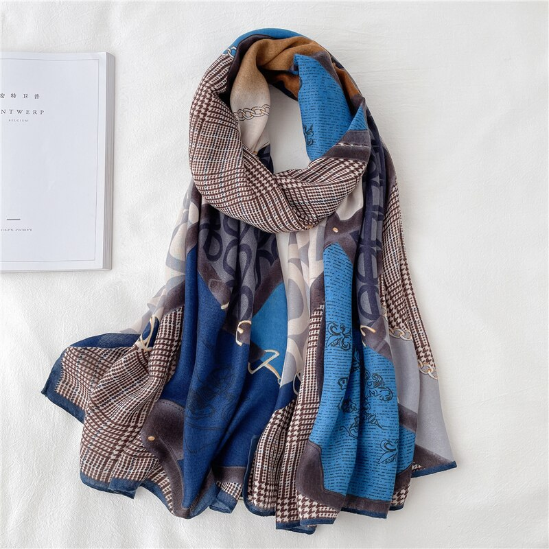 2021 Cotton Scarf Women Print Pashmina Soft Shawl Wrap Foulard Hijab Luxury 180*90cm Viscose Bufanda