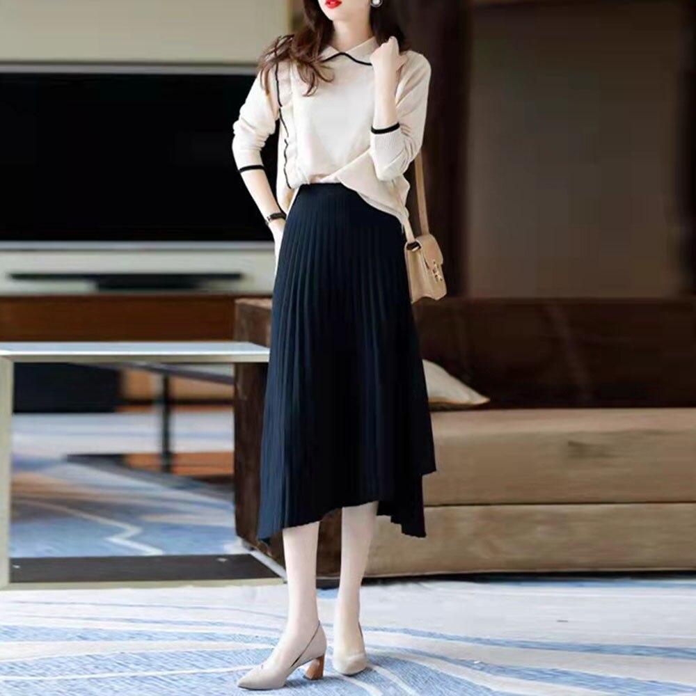Dwuczęściowy zestaw kobiet spódnica 2021 kobiet plisowana moda elegancki sweter zestawy strojów koreański styl panie bluzka z długimi rękawami garnitur