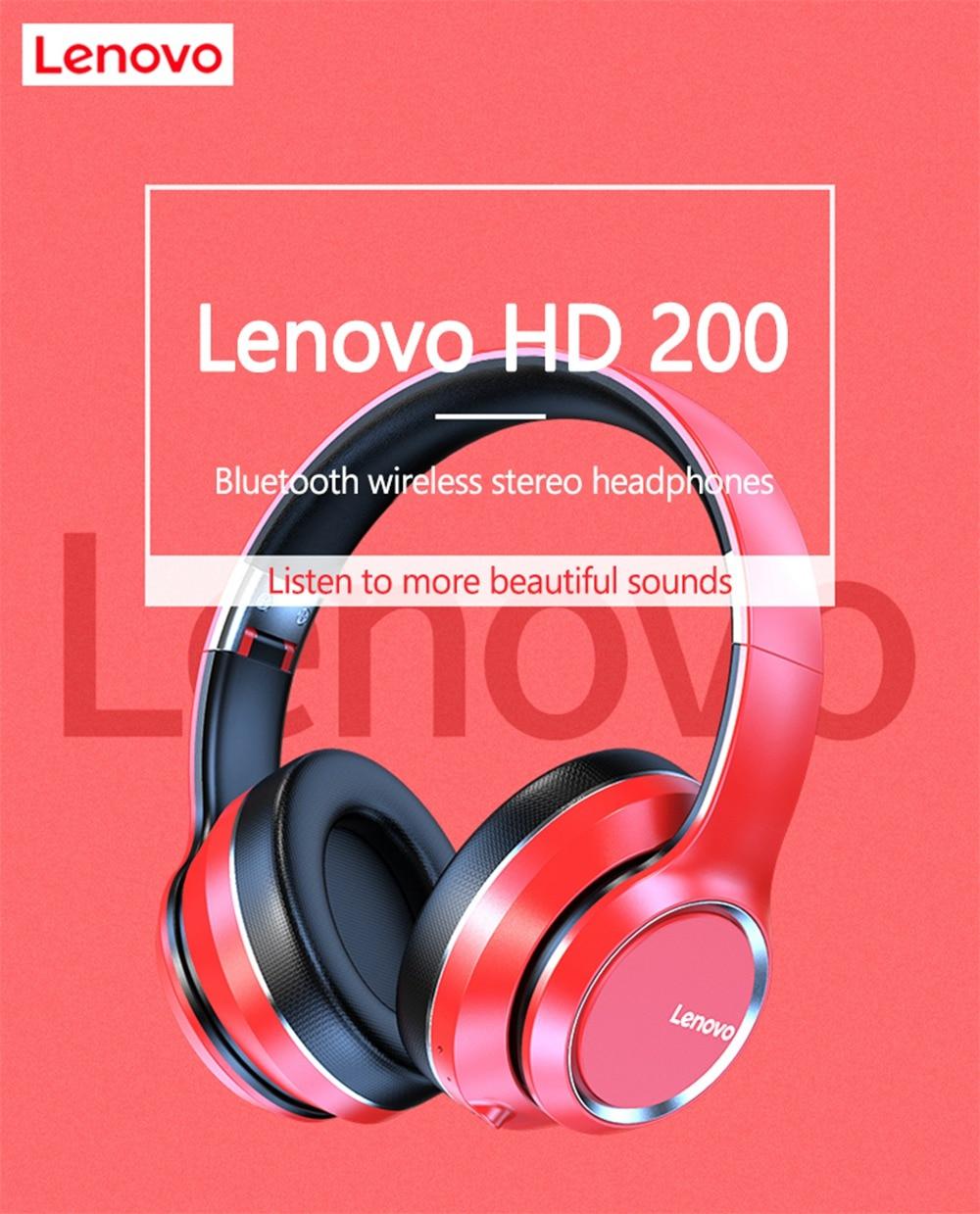 Lenovo HD200 Bluetooth Draadloze Stereo Hoofdtelefoon BT5.0 Lange Standby Leven Met Noise Cancelling Voor Xiaomi Iphone Lenovo Headset 9