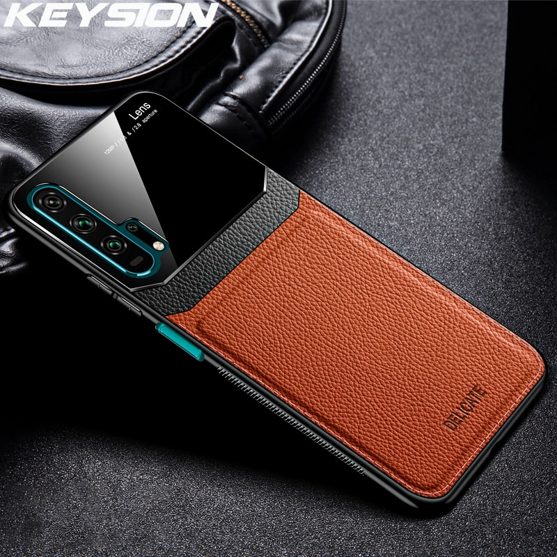 KEYSION Leather Case for Huawei Mate 30 20 Pro P30 P20 Lite P Samrt Y7 Y9 2019 Glass Phone Back Cove