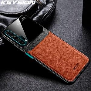 Кожаный чехол KEYSION для Huawei Mate 30 20 Pro P30 P20 Lite P Samrt Y7 Y9 2019, стеклянная задняя крышка для телефона Honor 20 Pro 10i 8X 9X