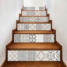 6 unids/set 3D Mandala flor escalera elevadora pegatina para el suelo autoadhesiva DIY escalera impermeable Etiqueta de pared de PVC
