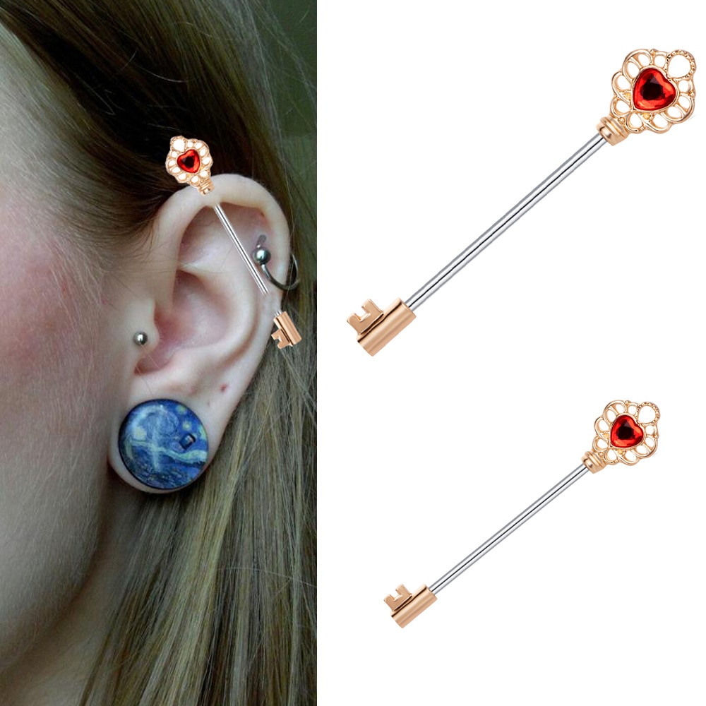 Barbell industrial brincos piercing longo barra cartilagem andaime piercing orelha hélice tragus corpo jewery