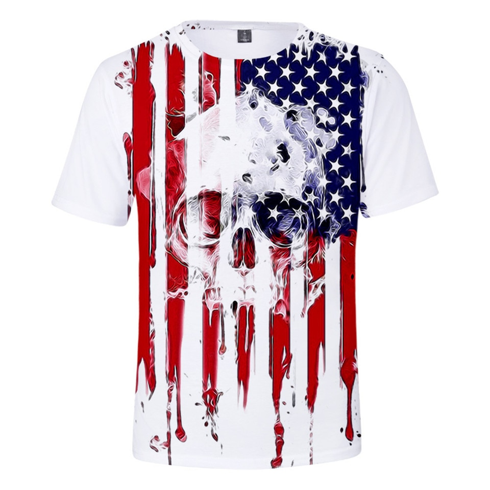 Skull Eagle USA Bandera Nacional 3D camiseta para hombre estampada Mujer moda Harajuku camiseta Camisetas Camiseta de manga corta Tee 6XL ropa