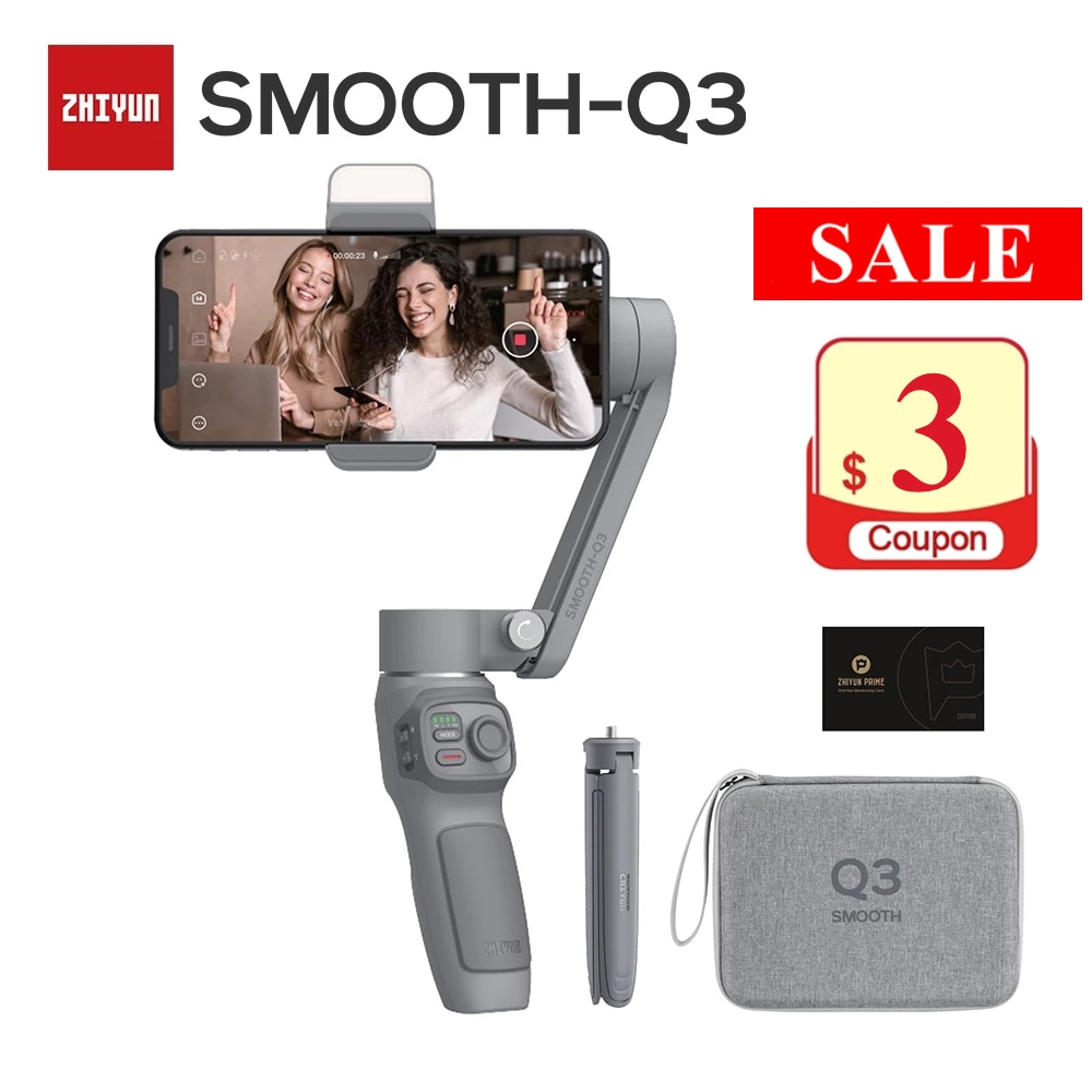 Zhiyun Smooth Q3 3-Axis Smartphone Gimbal Stabilizer with Light Auto Inception Object Tracking for iPhone 13 12 PRO MAX Android