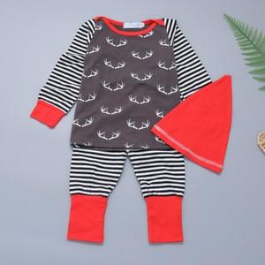 Original Zebra Remember kids Christmas suit baby Antlers print tops+stripes trousers+cap children Boutique outfits clothing sets