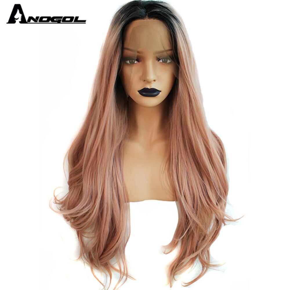 Peluca con malla frontal sintética ANOGOL ROSA MELOCOTÓN con raíces oscuras de fibra de alta temperatura peluca larga de onda Natural para mujeres