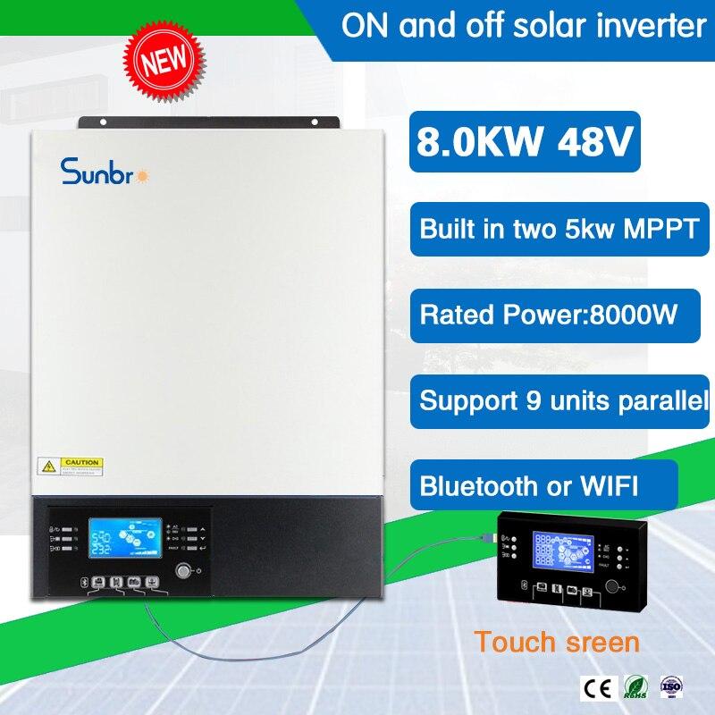 8KW 48 فولت على وخارج الشبكة عاكس شمسي هجين Bulit في اثنين 5000 واط MPPT شاحن تحكم مع وظيفة موازية إزالة LCD واي فاي