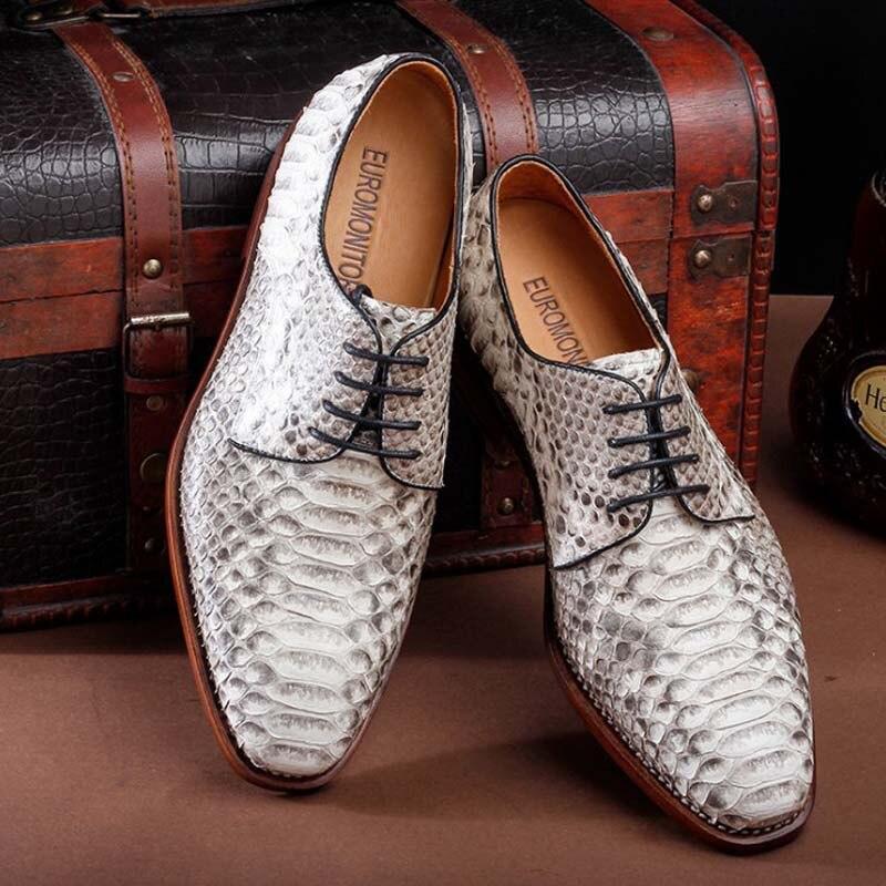 Ourui true Python piel Hombre traje de negocios zapatos de cuero blanco con cordones contraídos solo zapatos hombres zapatos