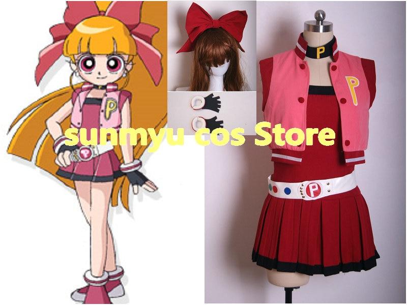 ¡Envío Gratis! Demashita! Las chicas superpoderosas Z Hyper de Akatsutsumi Momoko disfraz de cosplay rojo de tamaño de venta al por mayor