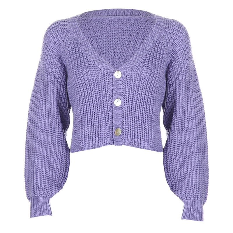 Women Lantern Sleeve Knitted Cardigan V-Neck Button Down Cropped Sweater Coat enlarge