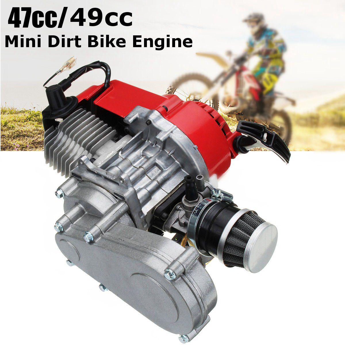 49cc Engine 2-Stroke Pull Start with Transmission For Mini Moto Dirt Bike Red Motorcycle Starter