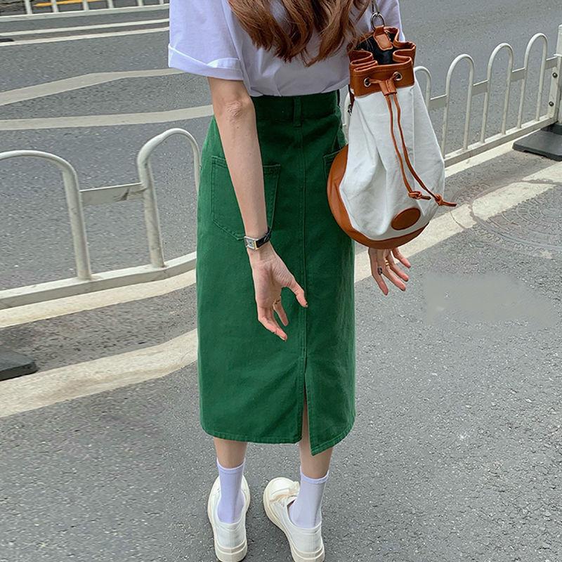 Summer A-line Skirt Denim Green Skirt Women Medium Long Skirt Korean High Waist Thin Split Skirt Large Denim Skirt 2020 new korean style elegant split embroidered a line denim midi skirt korean harajuku skirt jean skirt denim skirt