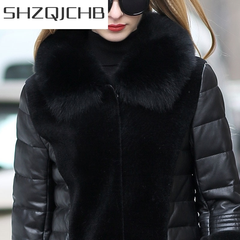JCHB 2021 Winter Genuine Leather Jacket Jacket Women Fox Fur Collar Real Sheepskin Coat Sheep Shearling Fur Down Jackets 1803_3