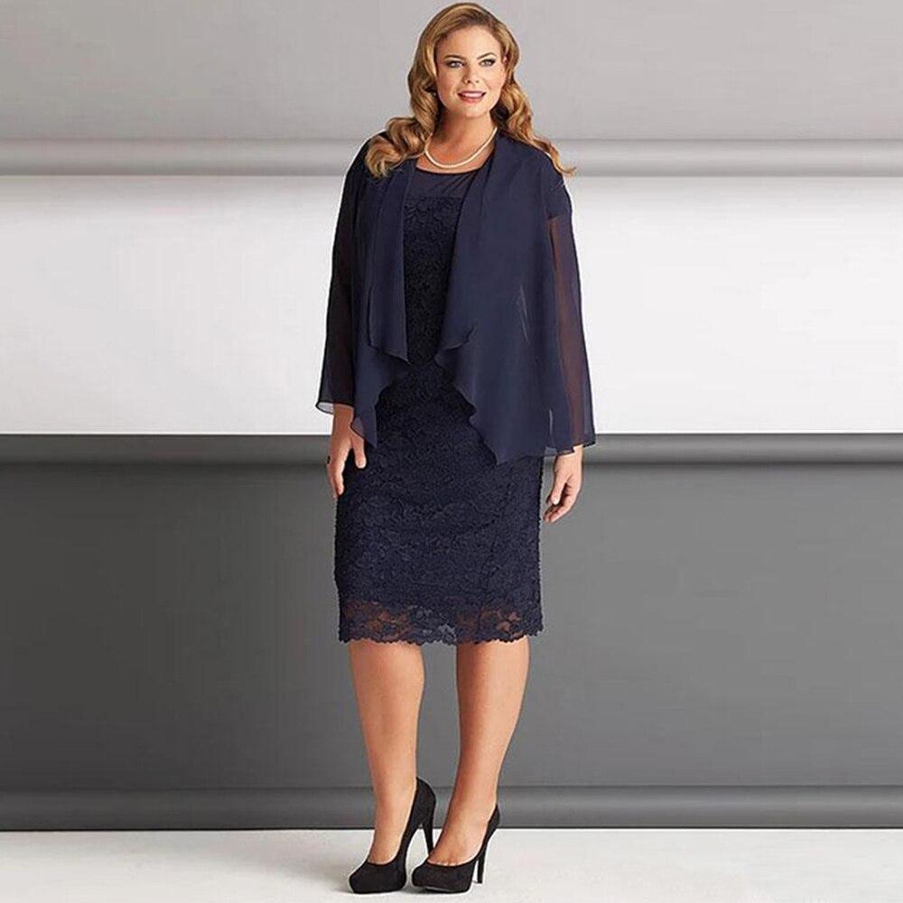 فستان عروس من Laxsesu باللون الأزرق الداكن برقبة دائرية وأكمام طويلة من قطعتين بطول الشاي فستان للحفلات الراقصة فساتين أم 2021