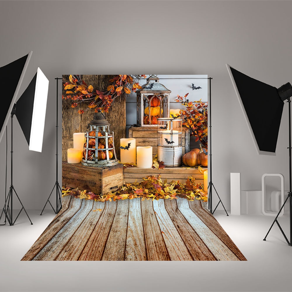 Autumn Fall Halloween Bat Backdrop Brown Wood Pumpkin Baby Child Portrait Photography Background for Photo Studio Photocall